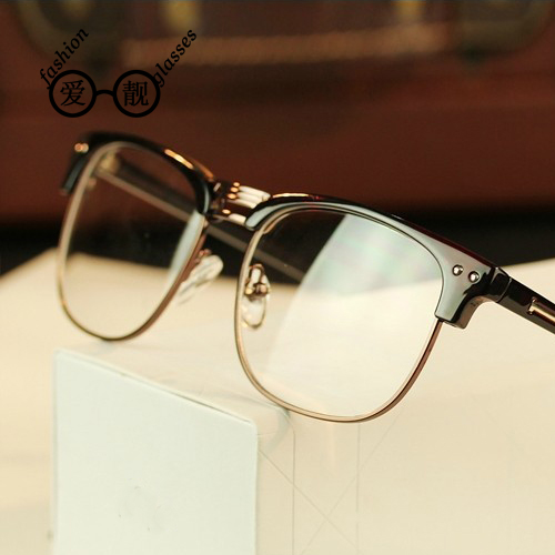 Free shipping metal half frame glasses popular retro men's fashion frame big face frame glasses frame can be equipped with myopia ms. glasses