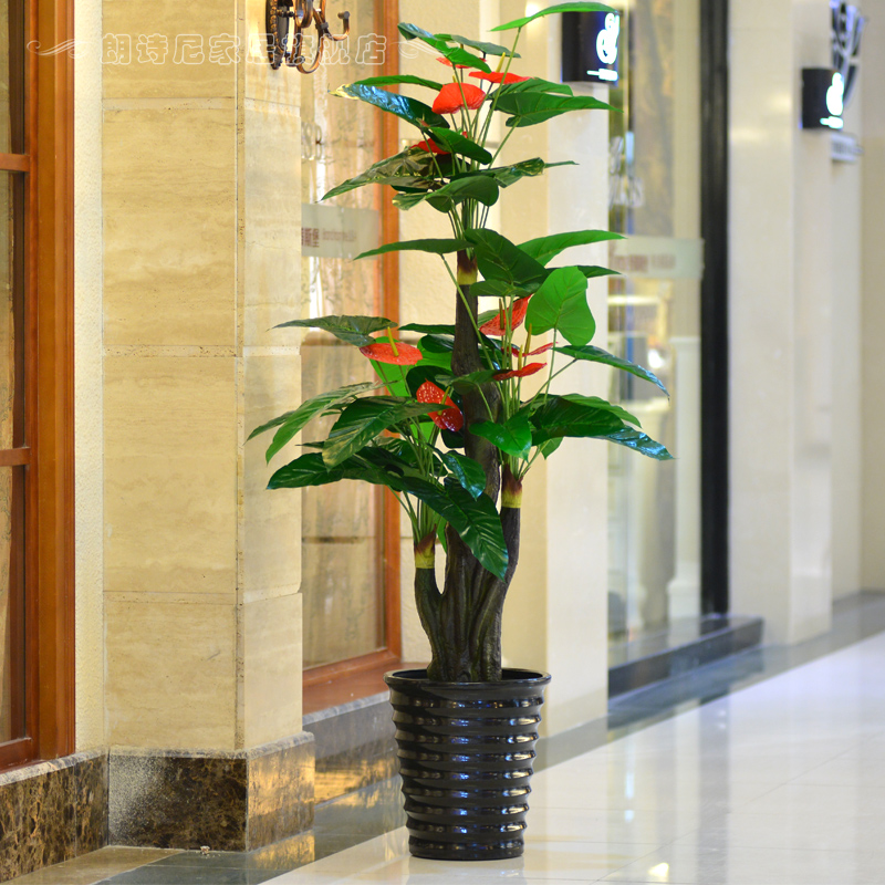 Free shipping new simulation anthurium tree large living room with fake flowers fake tree plant tree mall office room floor simulation tree
