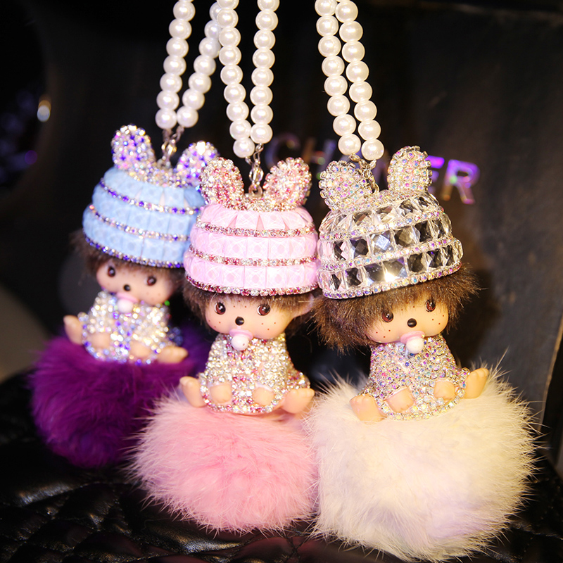 Free shipping rabbit fur qiqi car key pendant fox fur lady car keychain cute plush key pendant