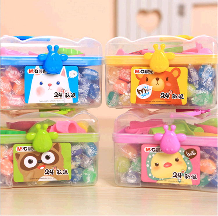 Free shipping stationery dawn dawn student plasticine toxic mud color plasticine 24 colors/children's educational colored plasticine clay mold containing