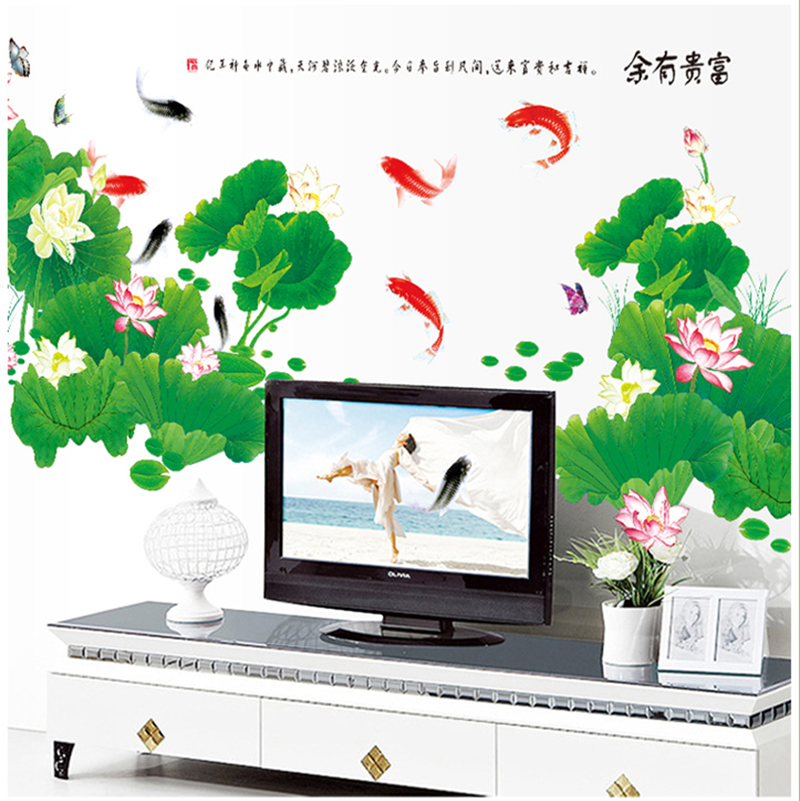 Free shipping three generations of wall stickers removable sticker living room tv background study bedroom decoration chinese lotus