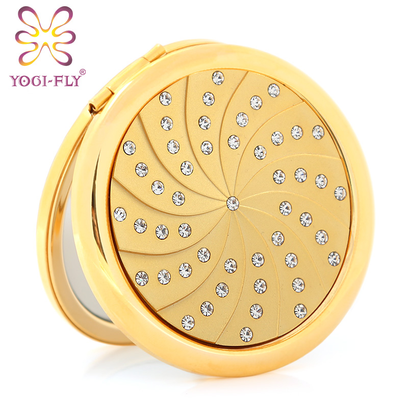Free shipping yage fei gold-plated diamond small mirror portable folding portable makeup mirror can be personalized custom lettering