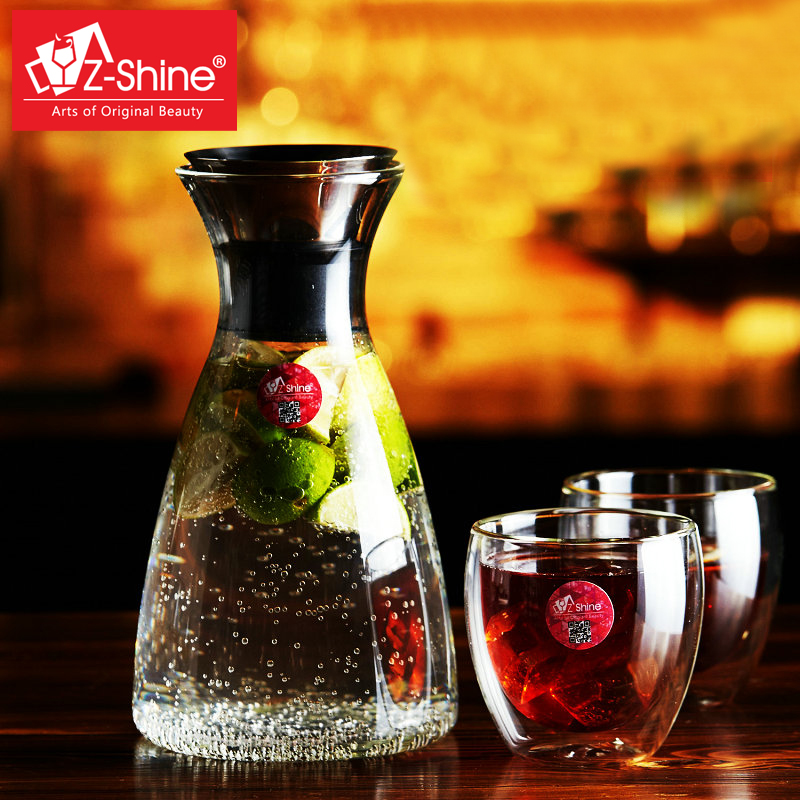 Free shipping z-shine creative cold resistant glass kettle kettle cool suit shuiju juice cup double cup juice cup