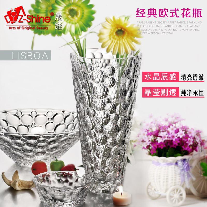 Free shipping z-shine sheng dimentional euclidian fashion creative crystal glass vase living room floor vase large vase