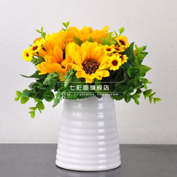 French country simulation sunflower artificial flowers artificial flowers silk flower home decoration artificial flowers overall floral suit ceramic