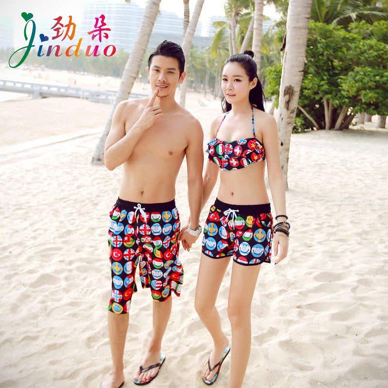 6177a6ace4 Get Quotations · Fresh flowers korean honeymoon couple swimsuit small chest  gather bikini swimwear beachwear sugan beach shorts