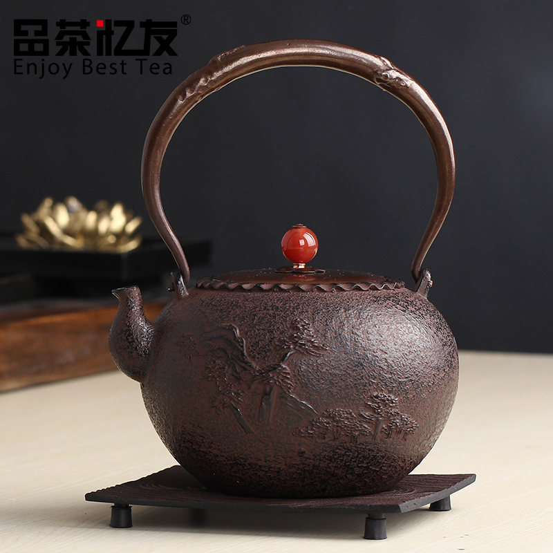 Friends recalled tea dress mouth landscape old iron pot uncoated cast iron pot iron teapot cast iron teapot tea specials