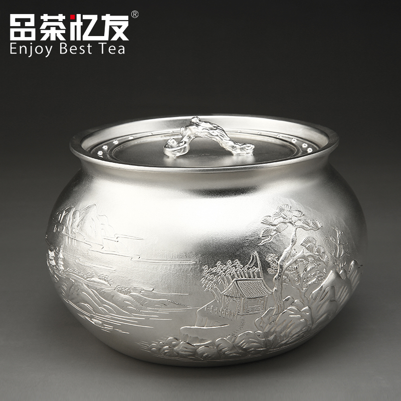 Friends recalled tea japan 5,00 jiangnachun 990 silver tea caddy tea caddy handmade kung fu tea