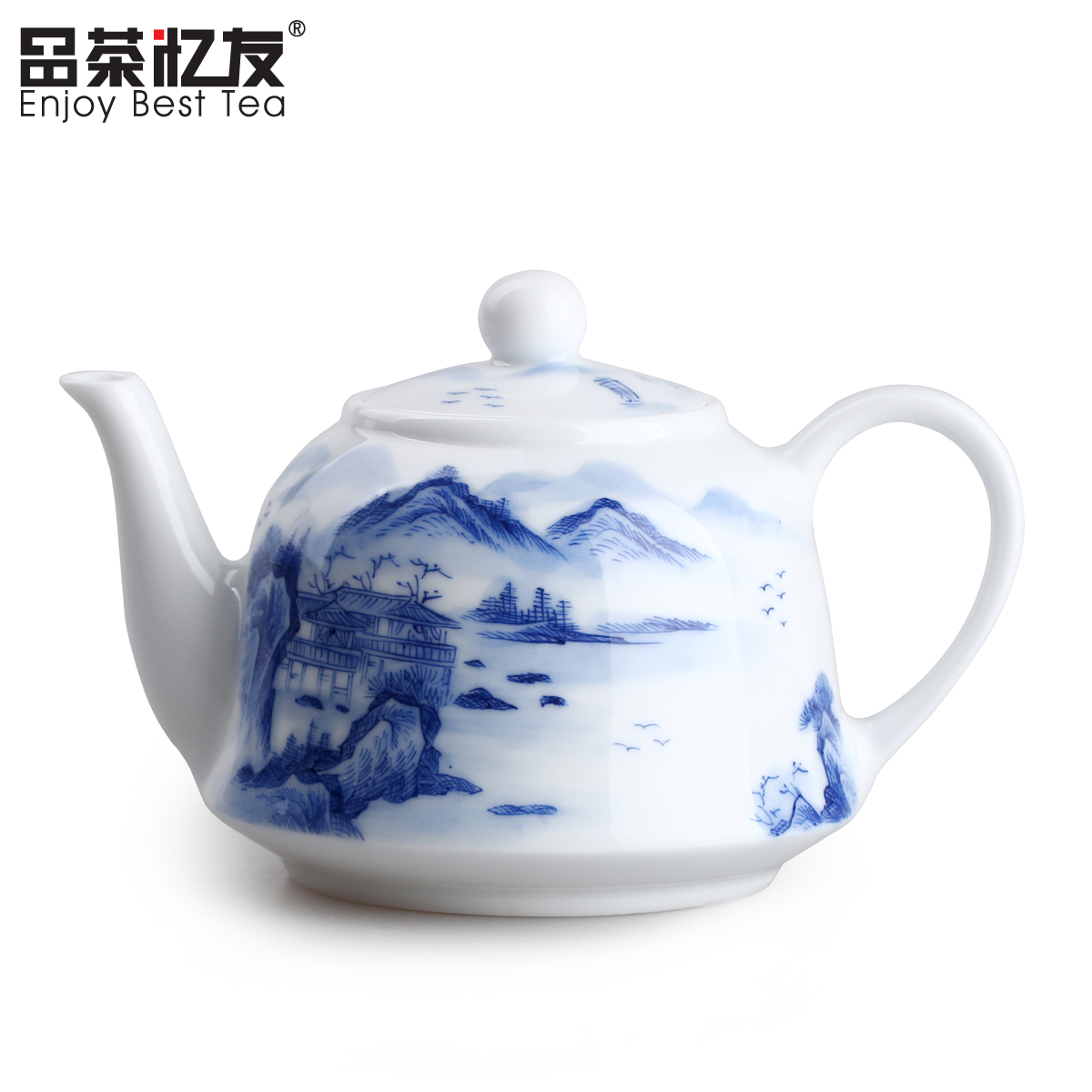 Friends recalled tea kettle landscape painted blue and white porcelain teapot teapot handmade teapot