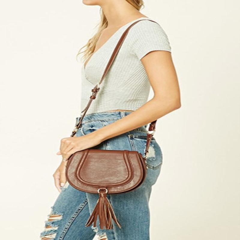 Fringed leather shoulder messenger bag saddle bag forever21 ladies bags