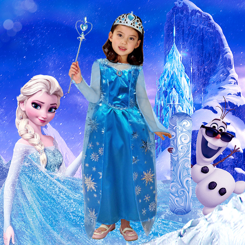 Frozen aisha cosplay halloween costumes stage performance clothing girls princess dress costume dress suit
