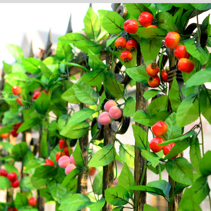 Fruit rattan cane artificial flowers silk flower vine peach orange apple strawberry cherry peppers rattan decorative fruit