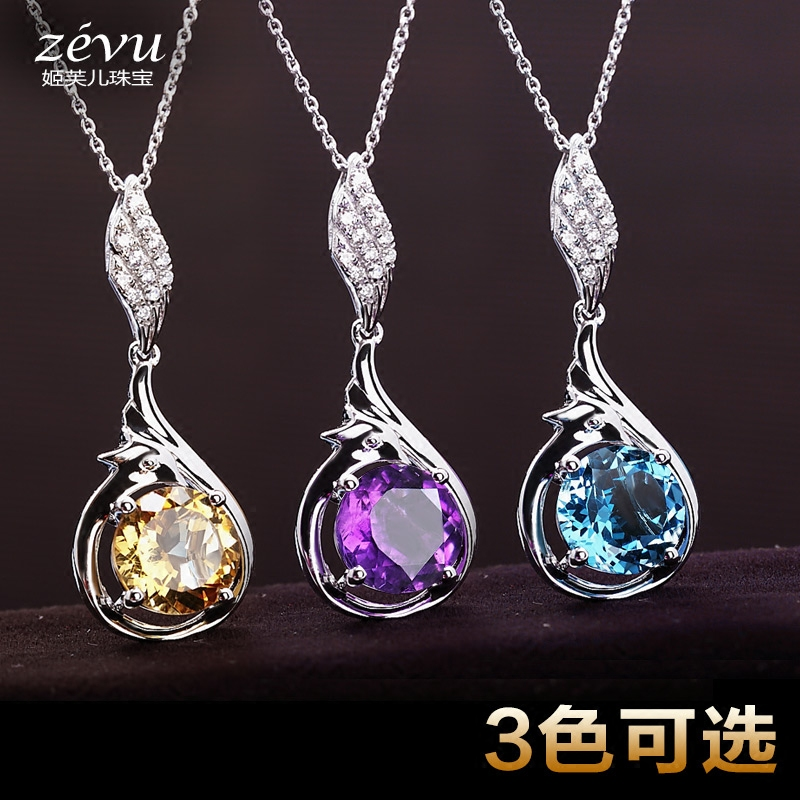 Fu ji children natural crystal pendant female purple citrine topaz 925 silver necklace with jewelry valentine's day gift