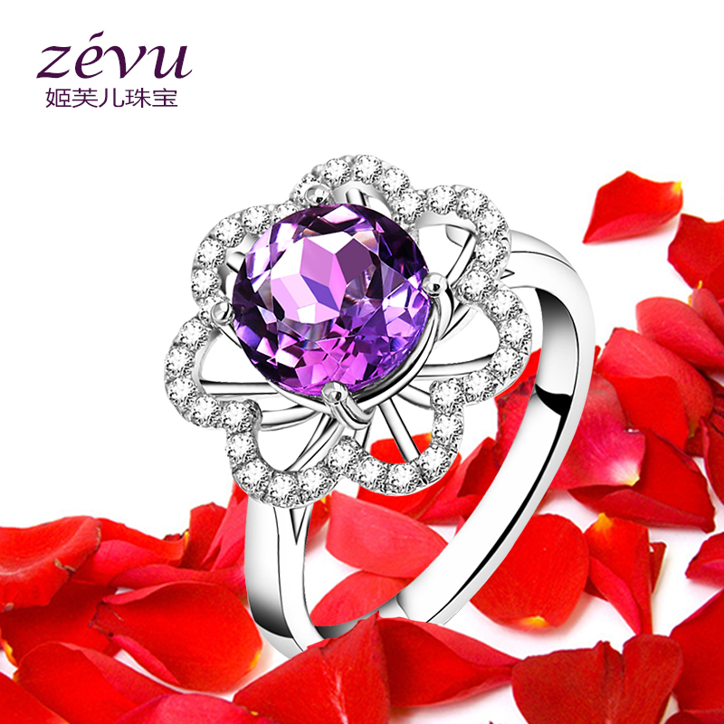 Fu ji children zevu 925 silver natural amethyst ring female european and american creative exaggeration index finger ring with jewelry