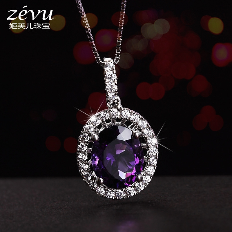 Fu ji children zevu natural amethyst gemstone necklace female short section of european and american jewelry 925 silver diamond pendant gift