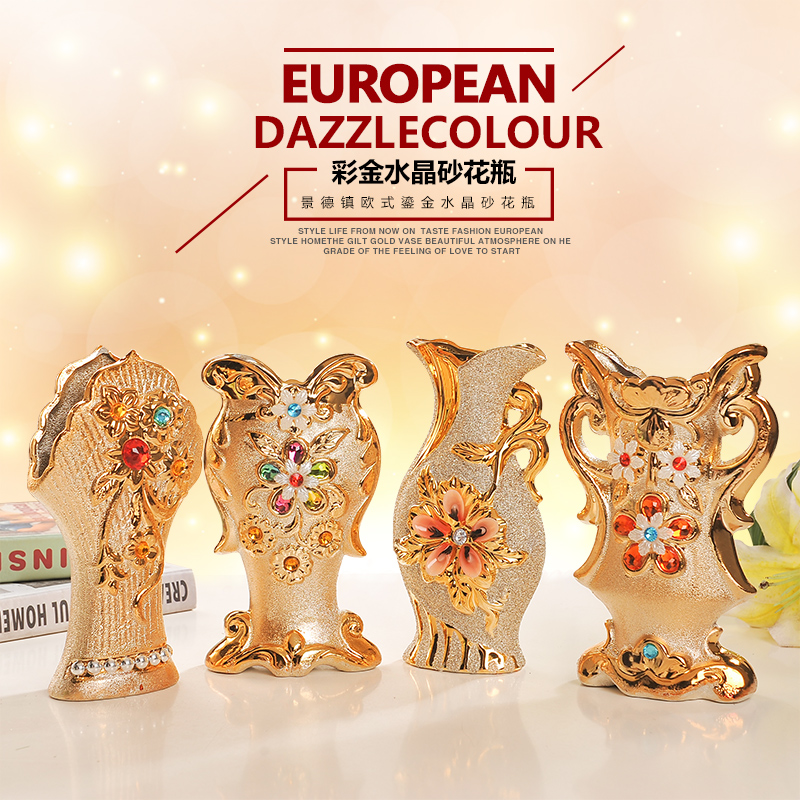 Fu king jingdezhen ceramic european small vase gold-plated home wedding small flowers into the living room decorative ornaments crafts