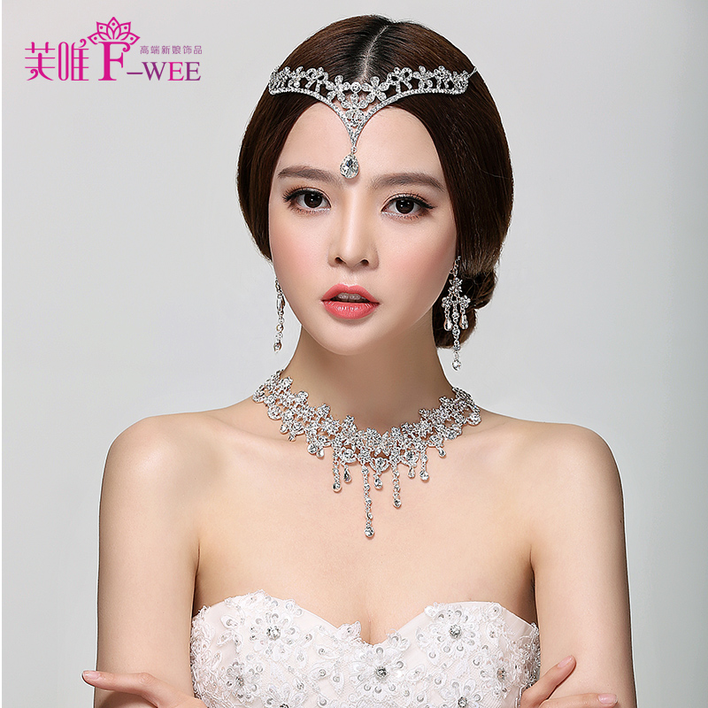 Fu wei bride wedding flowers diamond tassel frontlet necklace earrings jewelry accessories hair accessories headdress dual kit