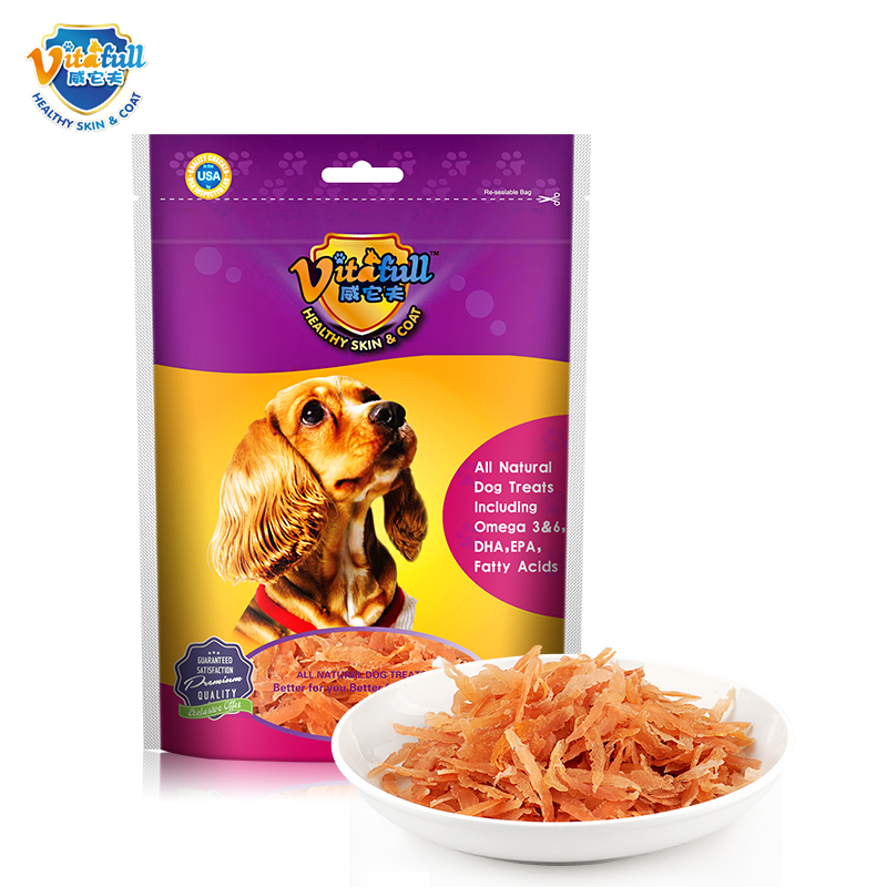 Fu wei it old puppy dog cat weaning period necessary supplies pet snacks soft chicken breast 100ç²silk 200g