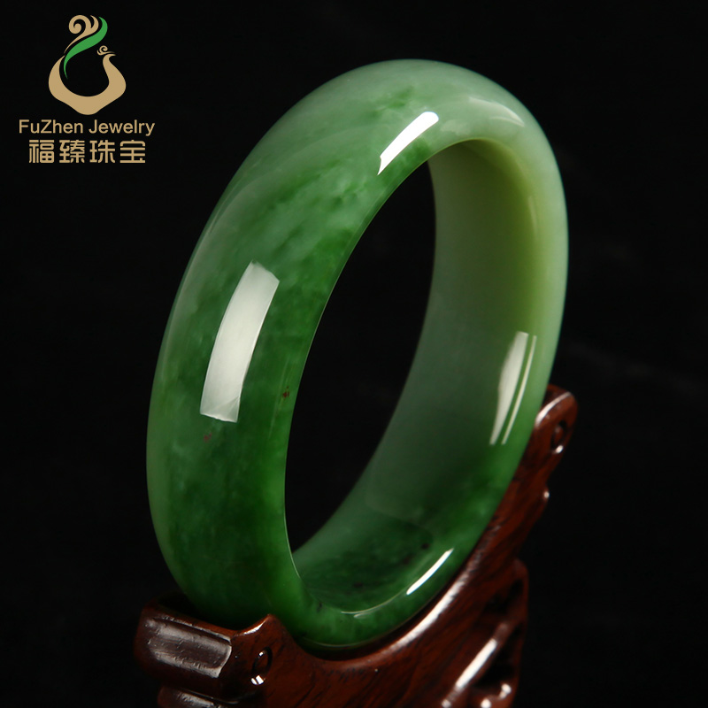 bangle on natural genuine a green type jadeite goods certificate jade circle bracelet pea bangles item with full