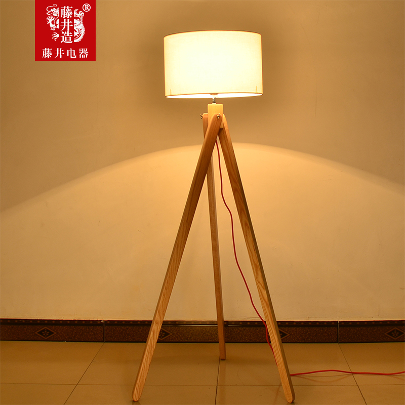 Fujii large tripod floor lamp floor lamp creative fashion living room modern minimalist bedroom lamp nordic wood tripod logs