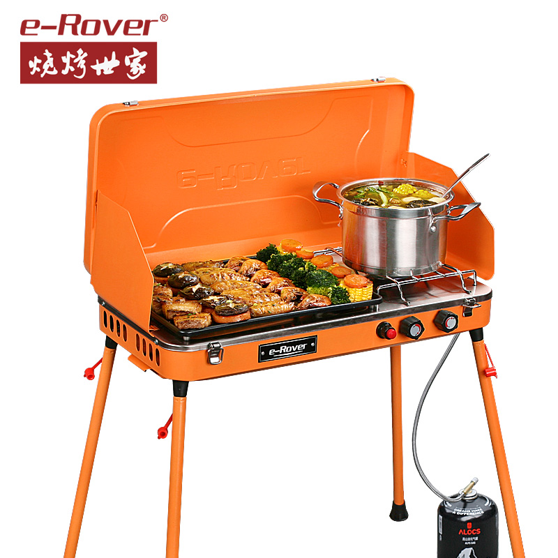 Full range of portable outdoor family barbecue gas grill barbecue grill barbecue grill box household folding shelf