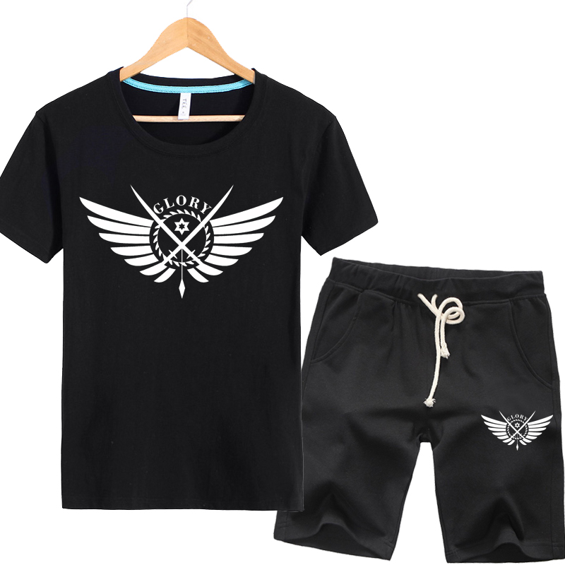 Full-time master of the wings korean version of the trend of middle school students teenagers plus mast yards summer men's short sleeve t-shirt suit