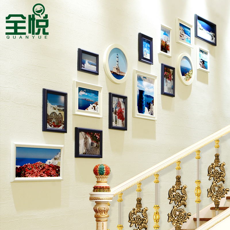Full wyatt entrance european wood photo wall photo frame wall composite creative staircase wall photo frame wall combination