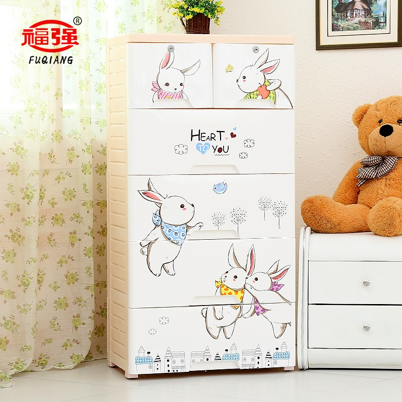 Fuqiang genuine plastic cartoon drawer storage cabinets lockers child baby wardrobe cabinet finishing cabinet