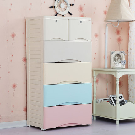 Fuqiang plastic drawer storage cabinets multilayer infant child baby wardrobe storage cabinets lockers chest of drawers finishing