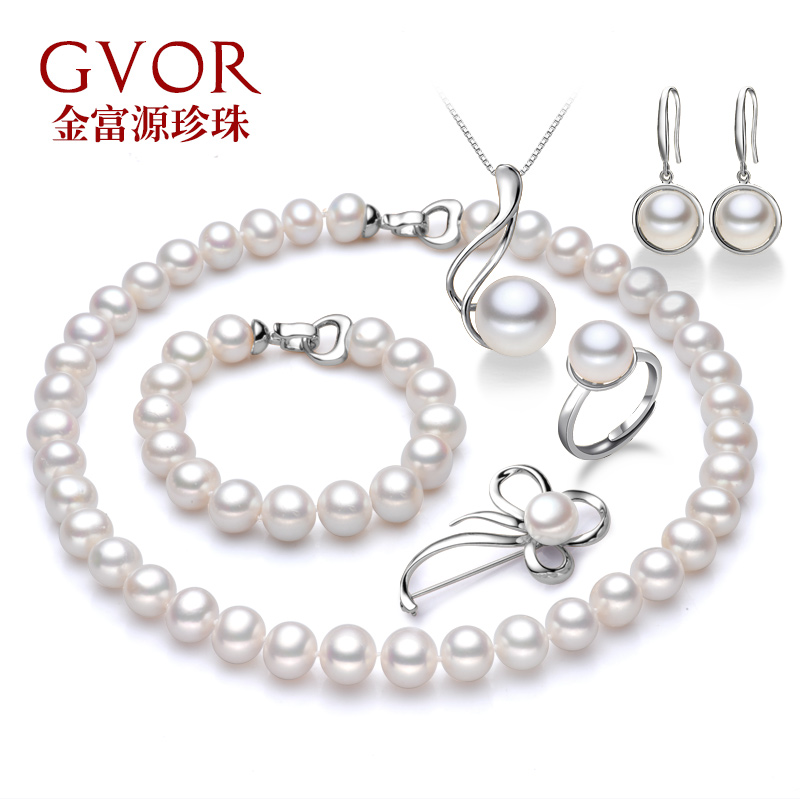 Fuyuan jewelry 12mm days old 11- particles glossy natural freshwater pearl jewelry set 6
