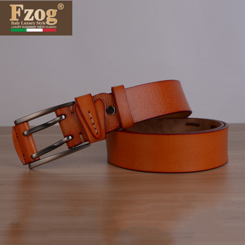 Fzog/fee zuo grid new needle buckle embossed leather belt men's business alloy denim waist belt loop
