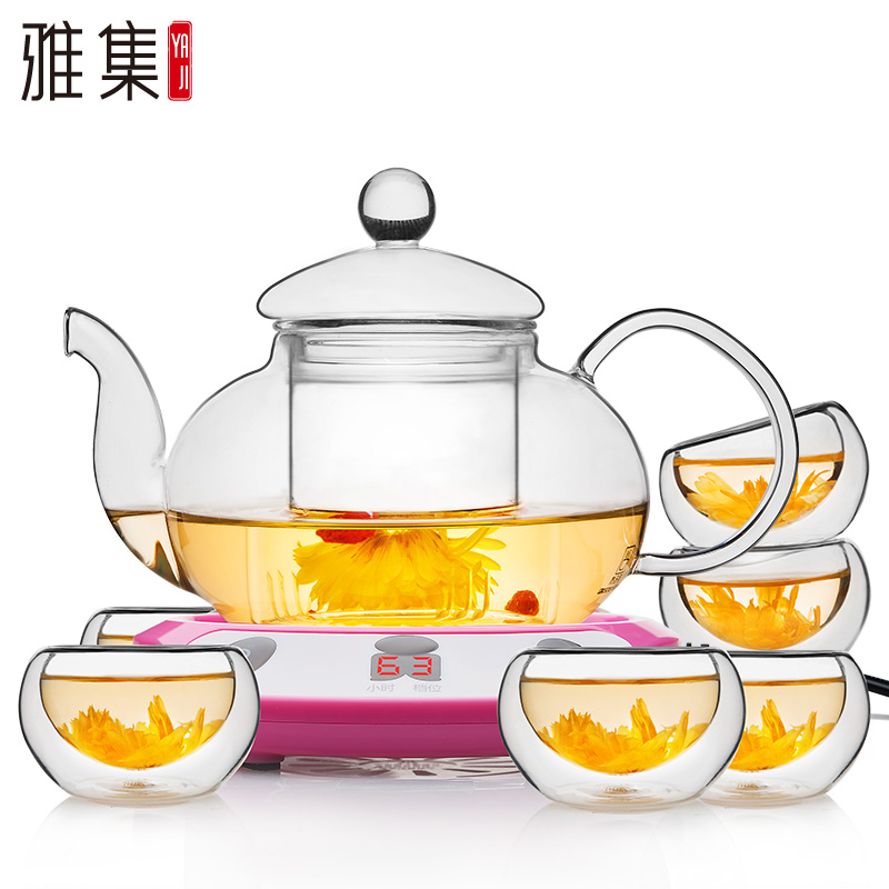 Gathering the entire suit insulation resistant glass teapot transparent filter tea with tea cup of herbal tea