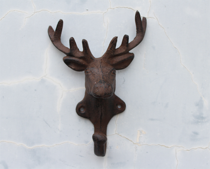 Ge jia rui erou us small deer vintage cast iron hooks coat hooks single hook wall mural