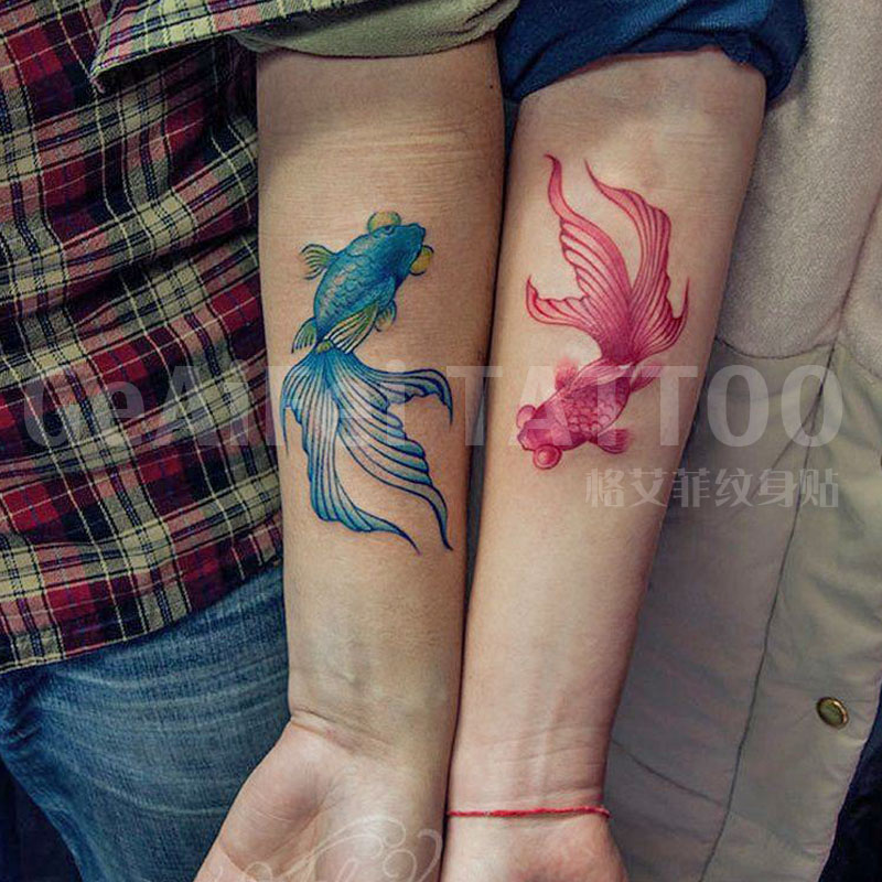 Ge yifei tattoo stickers-colored goldfish tattoo stickers for men and women spend a couple tattoo arm tattoo stickers tattoo stickers waterproof simulation