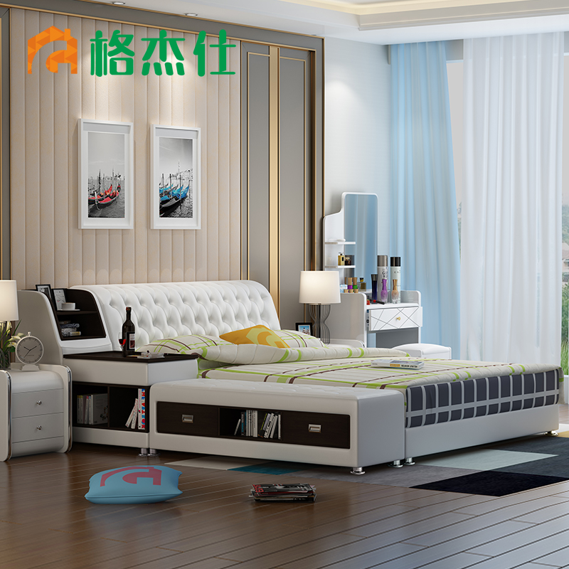 Gejie shi 1.8 m double bed modern minimalist marriage bed tatami bed leather bed soft foreskin arts soft bed storage bed