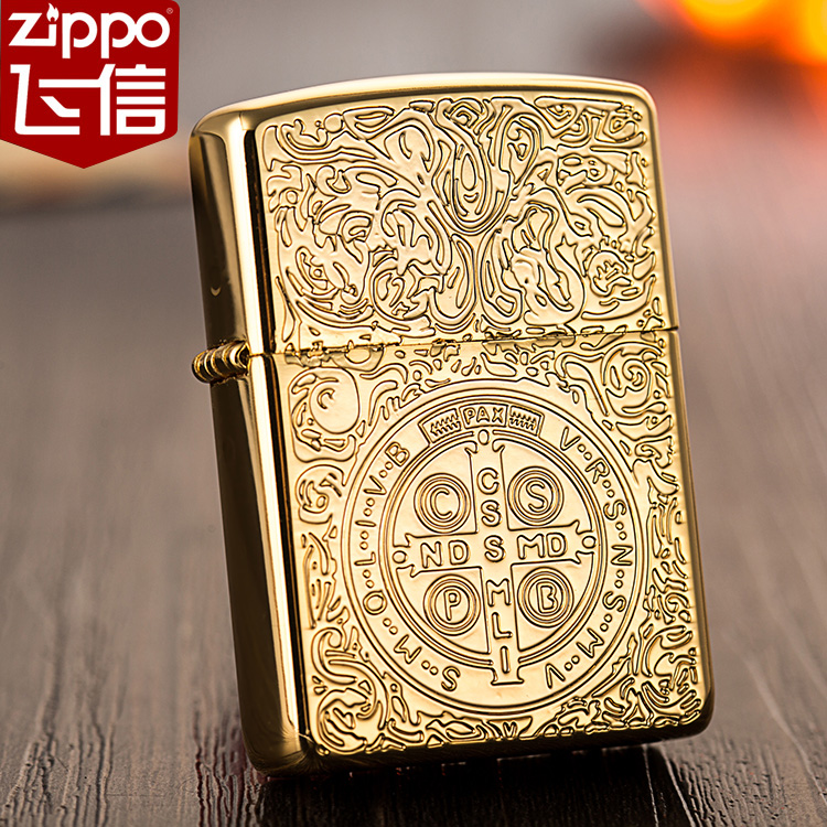 Genuine american original authentic zippo lighter pure copper etching constantine armor gold-plated limited edition men's