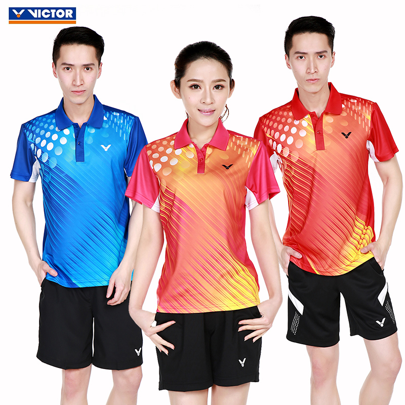 Genuine badminton clothing suit male and female models victor/victor victory couple models short sleeve shorts sportswear