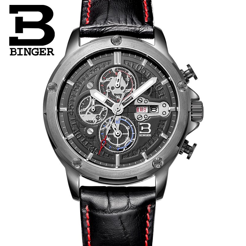 Genuine binger accusative steel watches men's ingenuity precision quartz watch three men ran second movement steel waterproof luminous watches