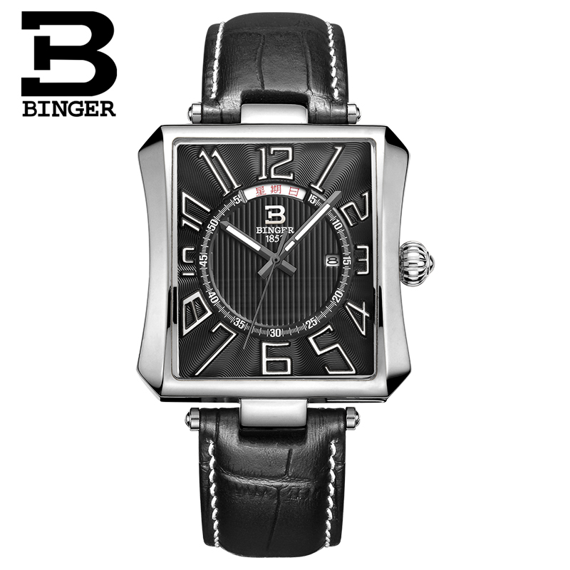 Genuine binger accusative steel watches quartz watch men watch waterproof steel thin minimalist leather casual shoes when shang yuan