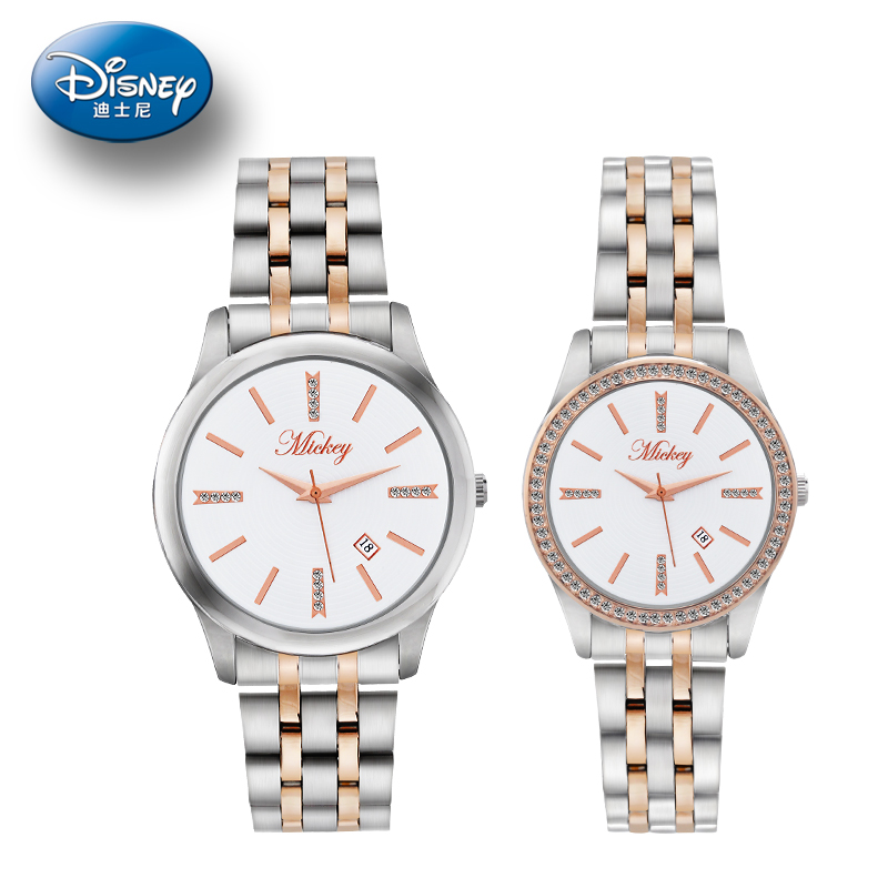 Genuine disney couple watch student waterproof calendar male form female form quartz watch korean fashion table table waterproof day