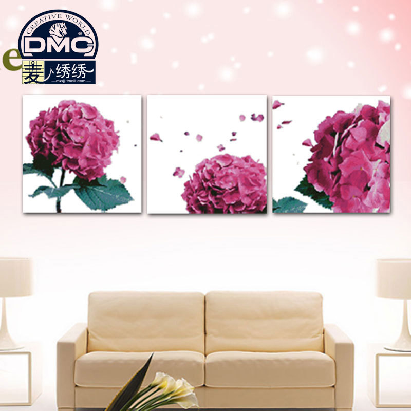 Genuine dmc cross stitch line kit monopoly substantial living room triptych paintings of flowers series fans toner incense