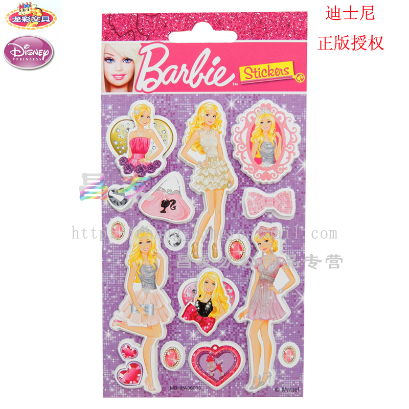 Genuine dragonlott diy stereoscopic encourage barbie princess disney children's cartoon series stationery sticker stickers