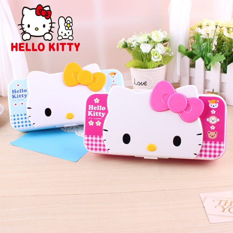 Genuine hello kitty female student stationery three layers of plastic lead pencil cases korea creative cartoon hello kitty kt