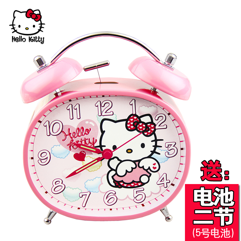 Genuine hello kitty hello kitty mute lazy clock creative fashion cartoon student bedside alarm clock for children
