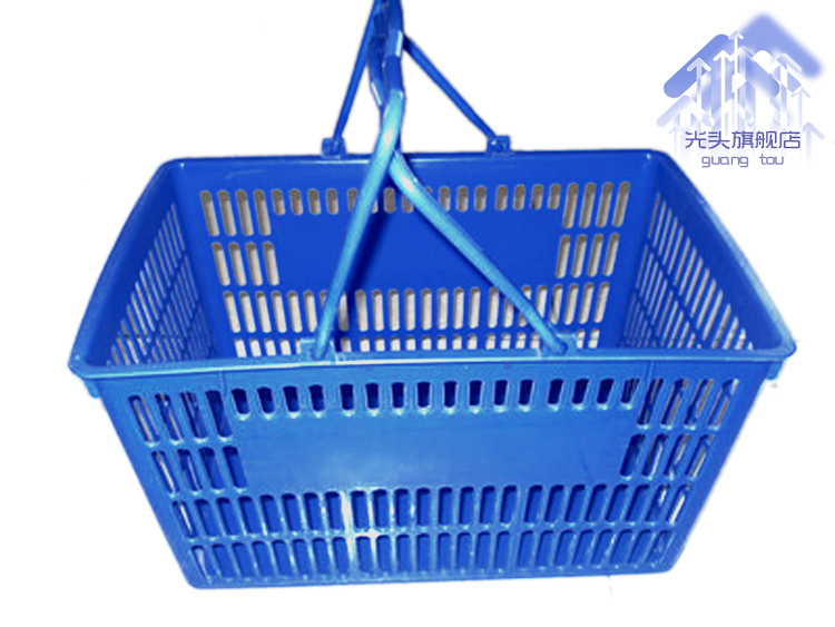 Genuine large thick green plastic supermarket shopping basket shopping basket storage basket portable basket mall
