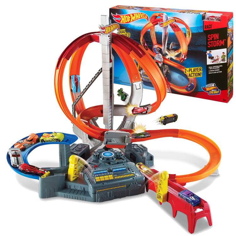 Genuine mattel hot wheels track cyclotron orbit electric speed CDL45 dual launcher boy toy gift