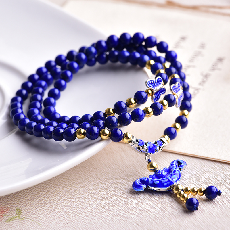 Genuine opening of natural afghan lapis lazuli spar valley lapis lazuli bracelet female models bracelets multilayer