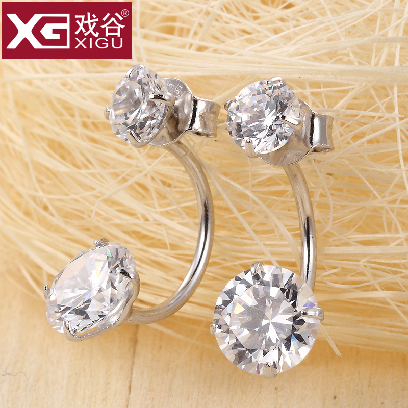 Genuine s925 silver stud earrings female zircon crystal earrings temperament korea hypoallergenic earrings temperament earrings free shipping free shipping