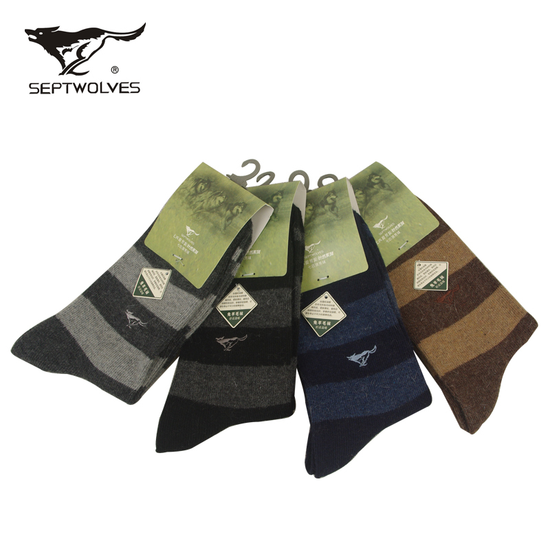 Genuine seven wolves seven wolves casual men's socks rabbit wool socks autumn and winter thick cotton socks soft and warm