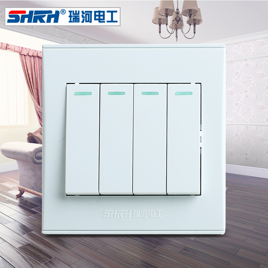 Genuine swiss river 86 type elegant white fluorescent wall switch panel 4 quarto double control quadruple double control power switch